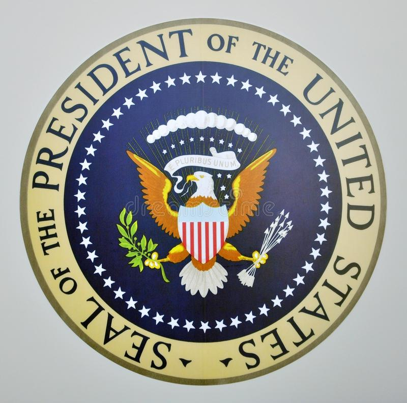 Presidential seal on Air Force One royalty free stock images