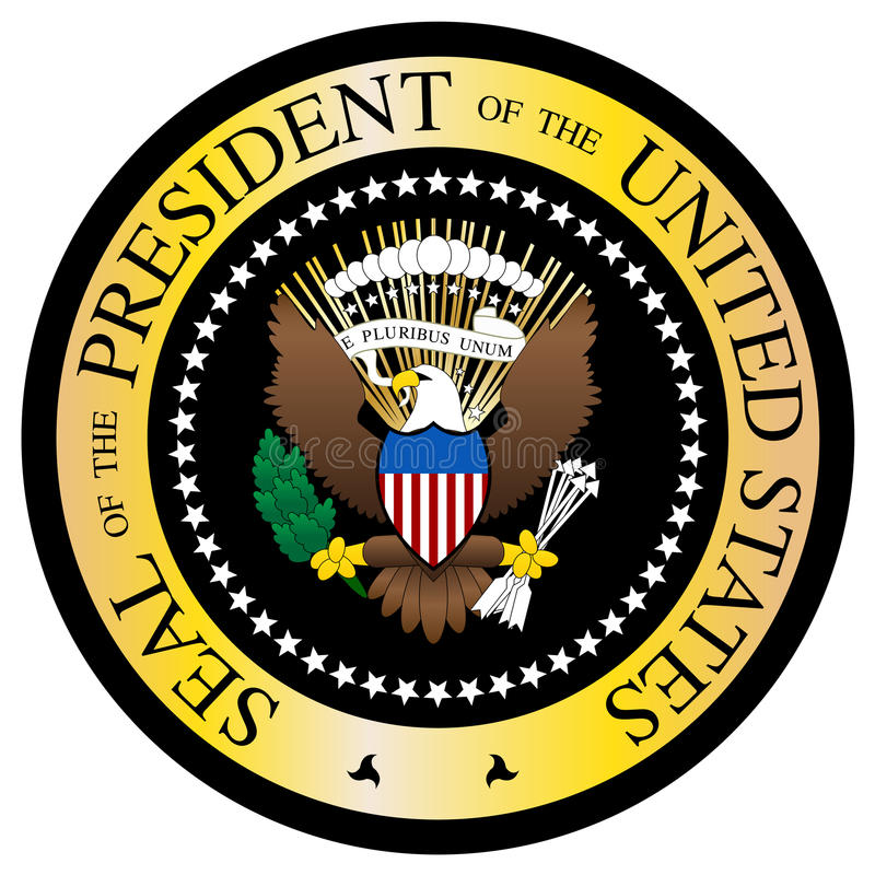 Presidential Seal Black And Gold. A Presidential seal design isolated on a white background stock illustration