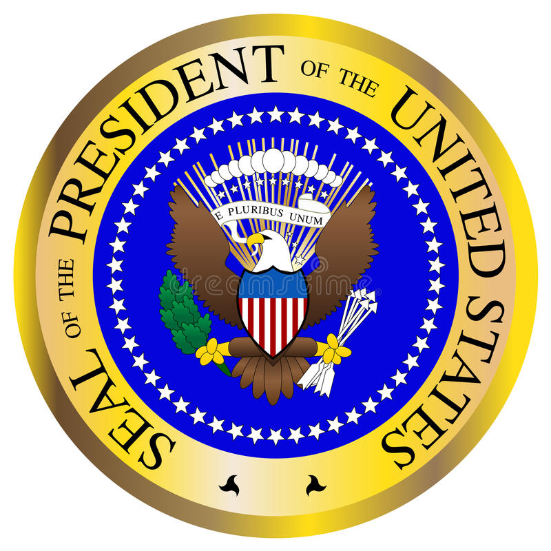Presidential Seal. A Presidential seal design isolated on a white background royalty free illustration