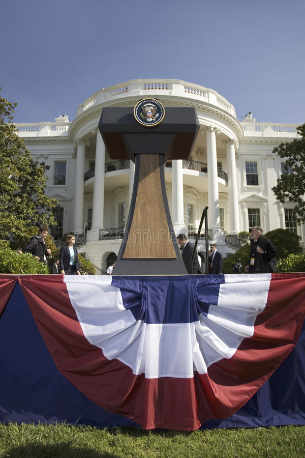 Presidential Seal On Podium In Front Of The South Portico Of The White House Editorial Stock Image