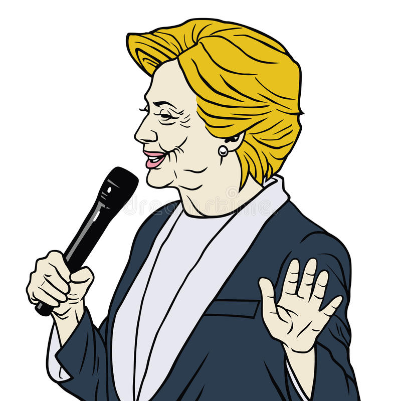 Presidentkandidat Hillary Clinton Cartoon Caricature stock illustrationer