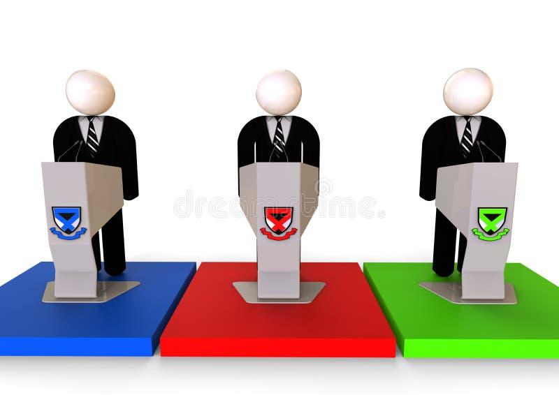 Presidentkandidatbegrepp stock illustrationer