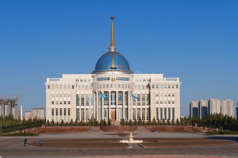 Presidentpalatset Ak-Orda i Astana kazakhstan arkivfoton
