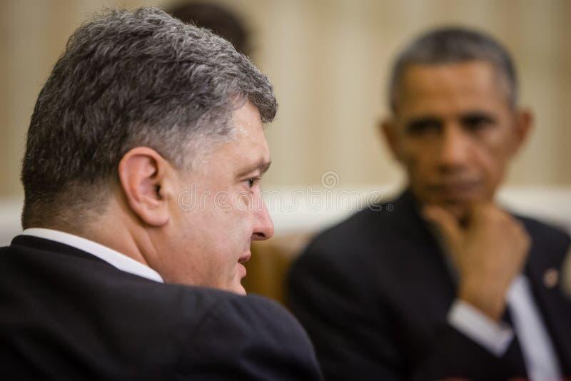 Presidents Barack Obama and Petro Poroshenko stock photography