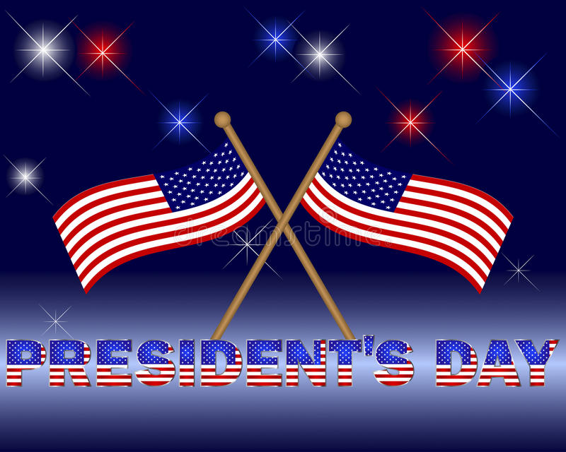 Presidents Day. Beautiful text with the pattern of the American flag on a festive background with flags. Vector stock illustration