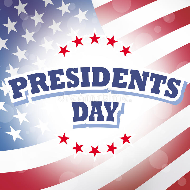Presidents day. On american flag background stock illustration