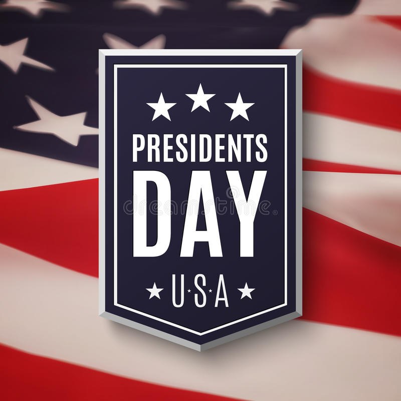 Presidents day background. Banner on top of American flag. Vector illustration stock illustration