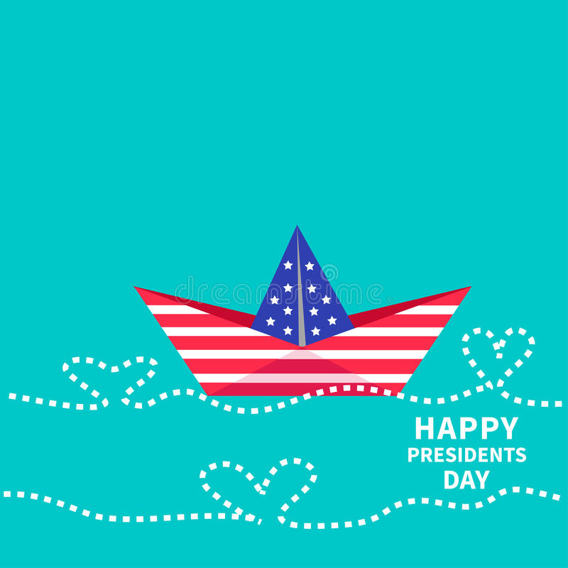 Extended Presidents Day: Presidents Day Background Paper Boat With Heart Stock