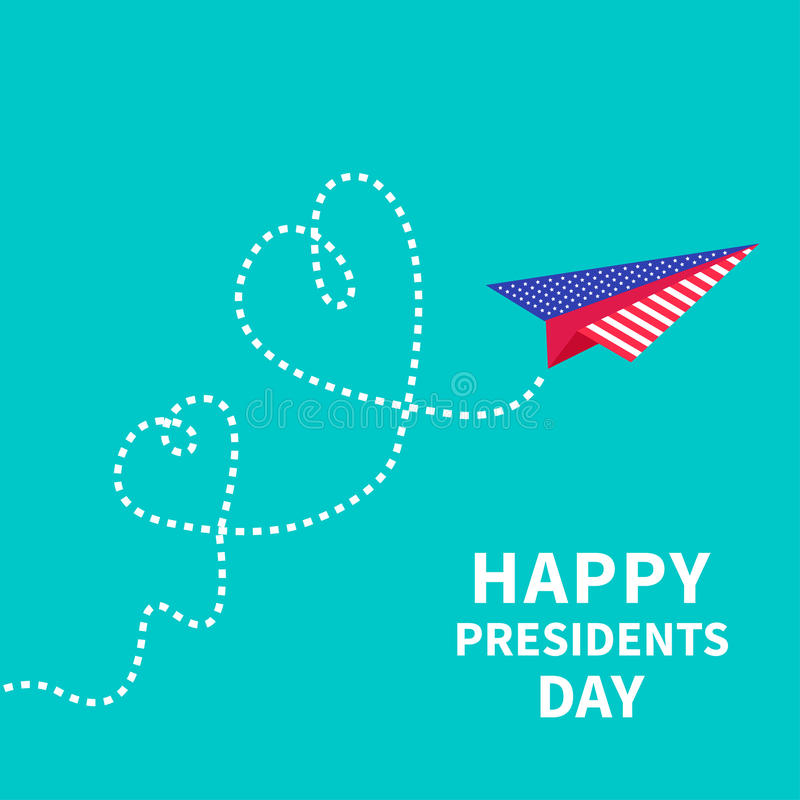 Presidents Day background Paper plane. Two dash. Line hearts Vector illustration stock illustration