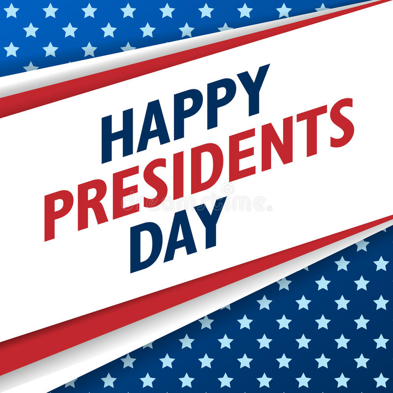 Presidents Day background. USA patriotic vector template with text, stripes and stars in colors of american flag. stock illustration