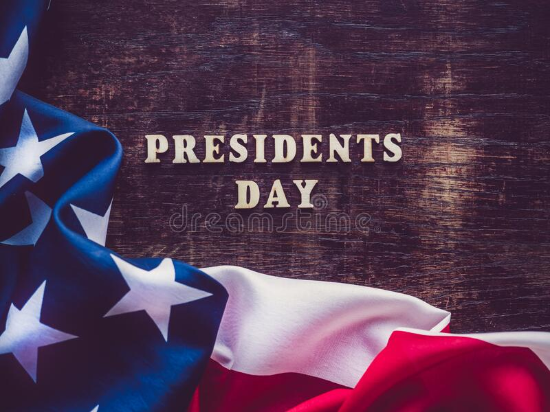 Presidents` Day. Beautiful greeting card. Top view. Presidents` Day. Beautiful greeting card. Brown, isolated background, close-up, view from above, wooden royalty free stock photography