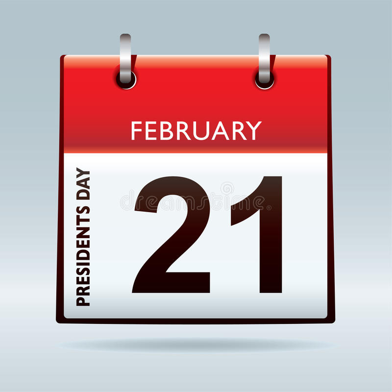 Presidents day calendar. Red calendar icon for american presidents day 21st February stock illustration