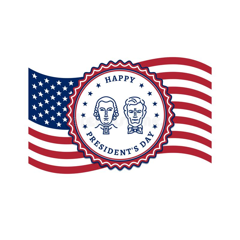 Presidents Day card, USA flag and Presidents Day stamp icon. American Presidents - George Washington and Abraham Lincoln vector illustration