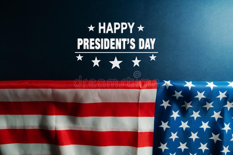 Presidents day celebrate on america flag background stock images