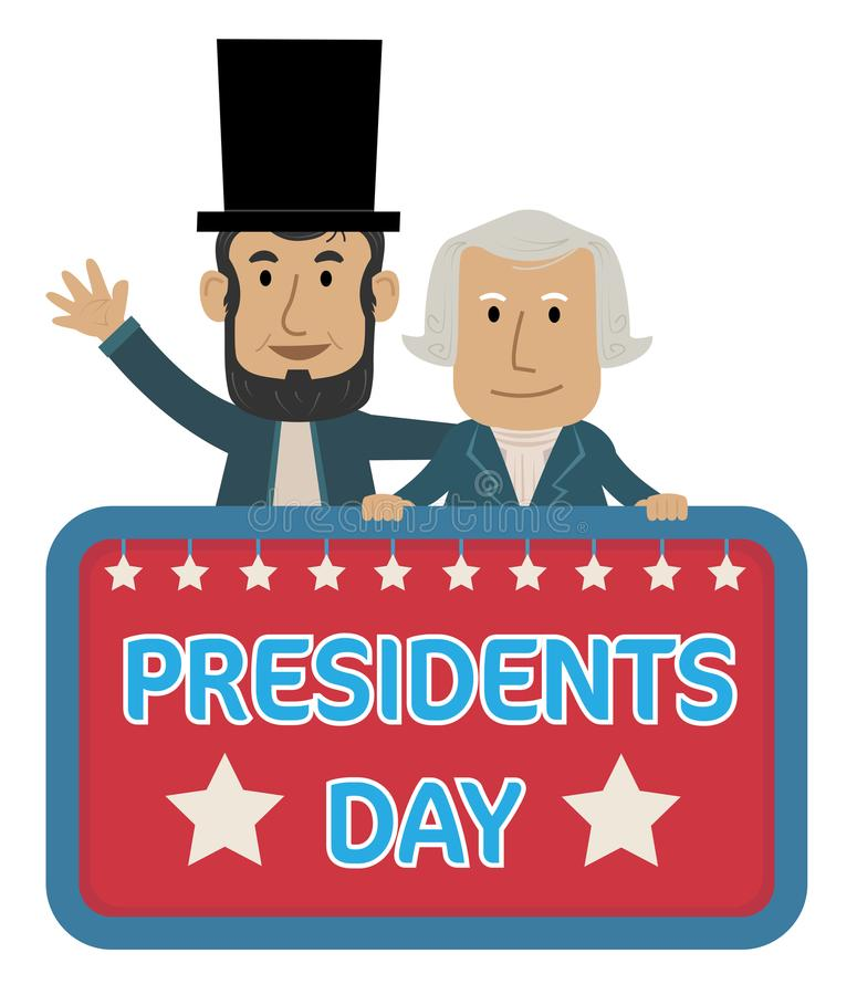 Presidents Day Clip-art. Presidents Day Sign with Abraham Lincoln and George Washington. Eps10 royalty free illustration