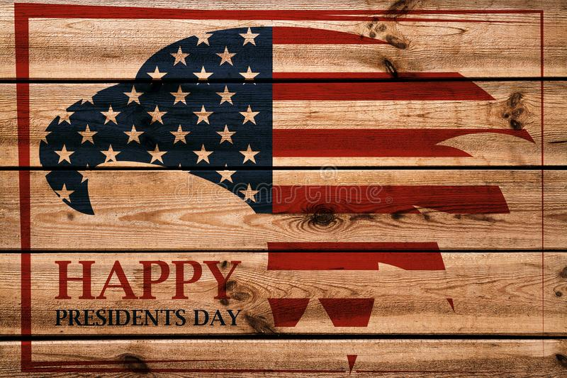 Presidents Day emblem with American eagle in red frame. Wooden background stock photos