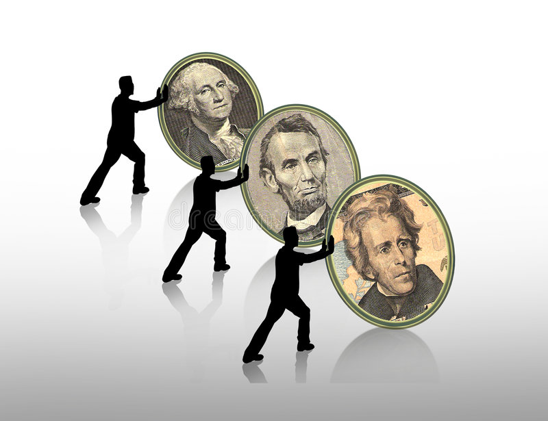 Presidents Day graphic. Illustration composition for Presidents Day border or background with money portrait cameos of Washingtom, lincoln, Hamilton vector illustration