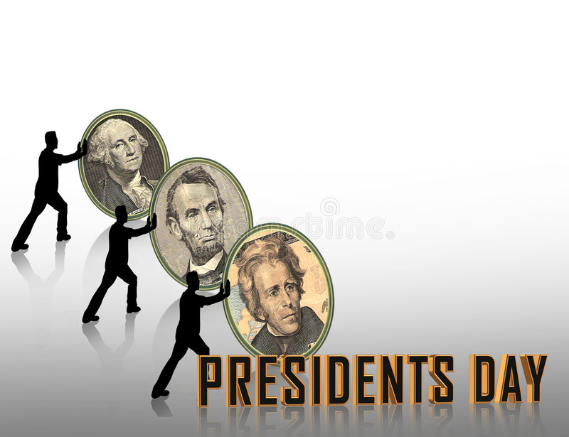 Presidents Day graphic. Illustration composition for Presidents Day border or background with portrait cameos of Washingtom, lincoln, Hamilton stock illustration