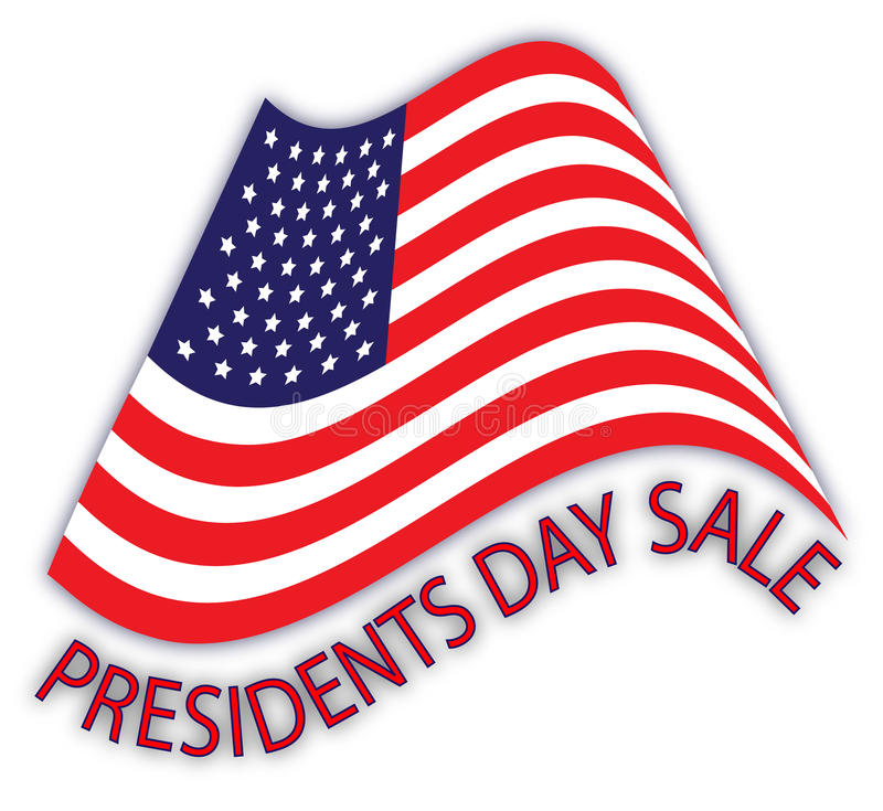 Presidents Day Sale Ad. Illustration of a waved American flag with the inscription 'Presidents Day Sale royalty free illustration