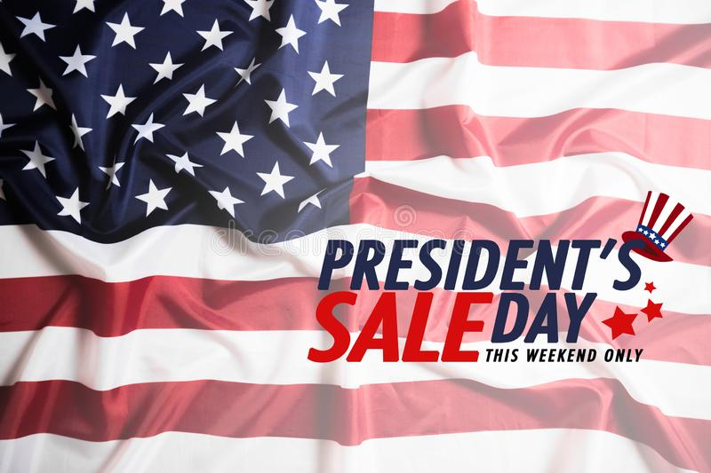 Presidents` Day Sale banner with american flag and stars background vector illustration