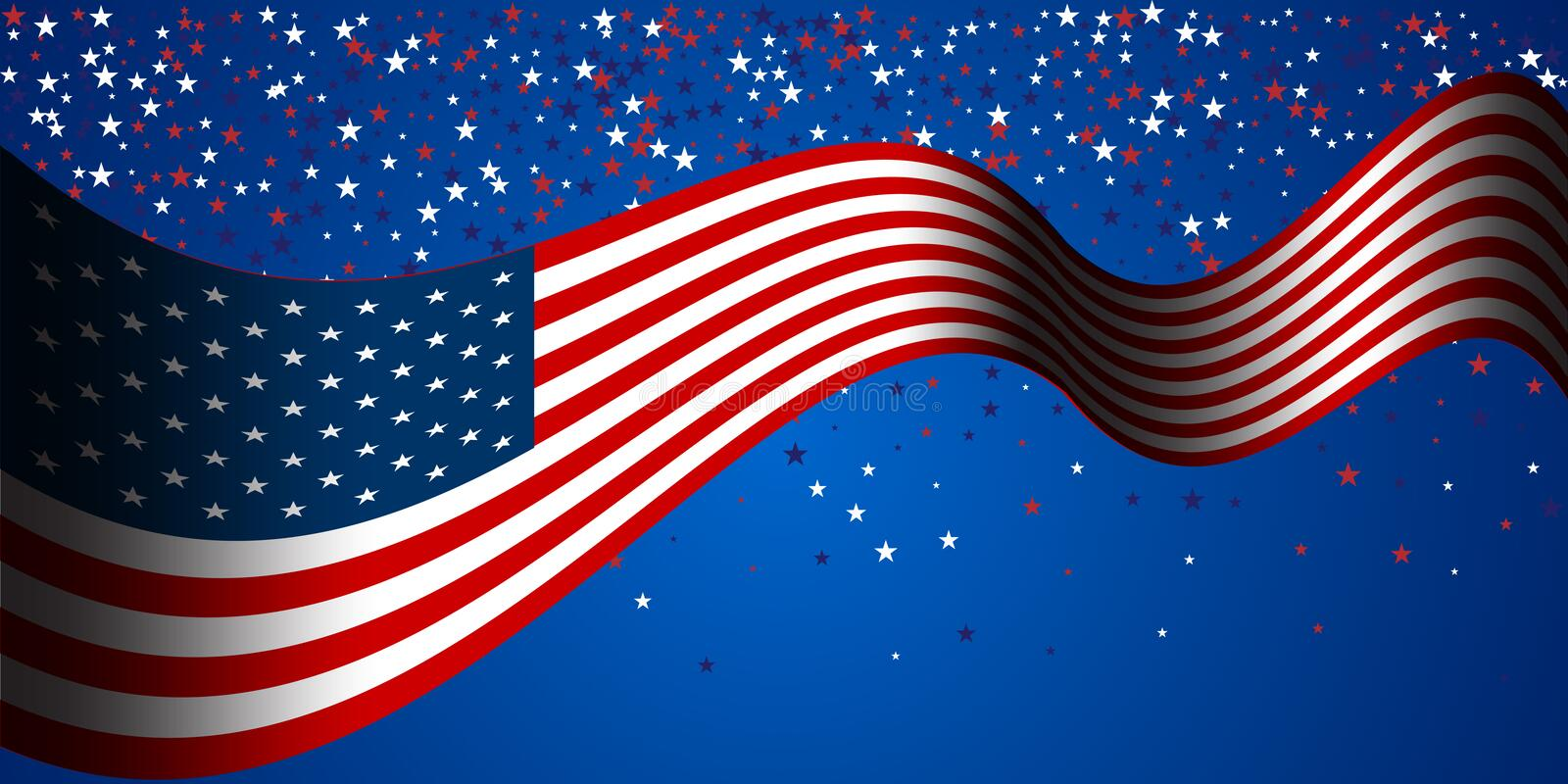 Presidents` Day Sale banner with american flag and stars background. royalty free illustration
