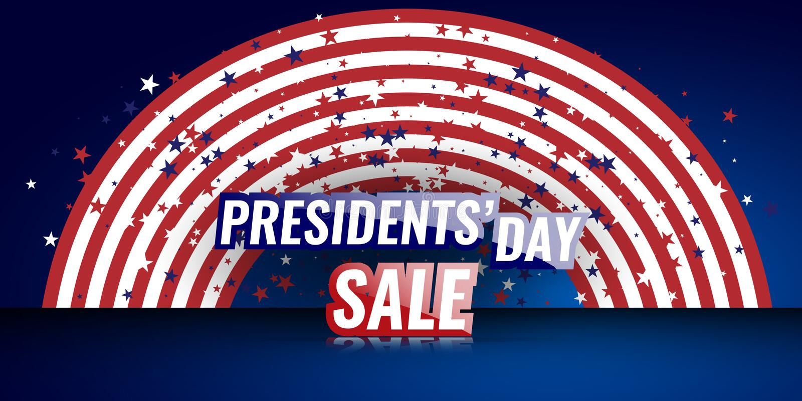 Presidents` Day Sale banner with american flag and stars background. vector illustration