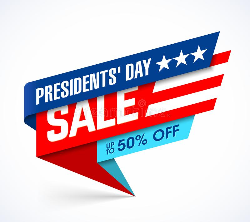 Presidents` Day Sale banner. Design template, big sale, special offer, up to 50% off stock illustration