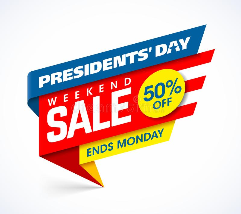 Presidents` Day Sale banner design template. USA Presidents` Day Sale banner design template, big weekend sale, special offer, up to 50% off royalty free illustration