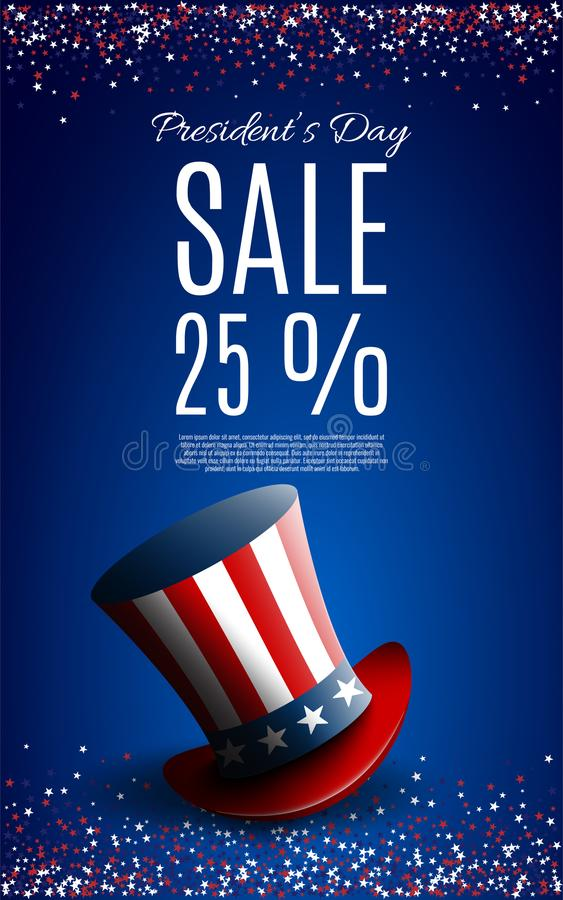Presidents` Day Sale banner with president`s hat royalty free illustration