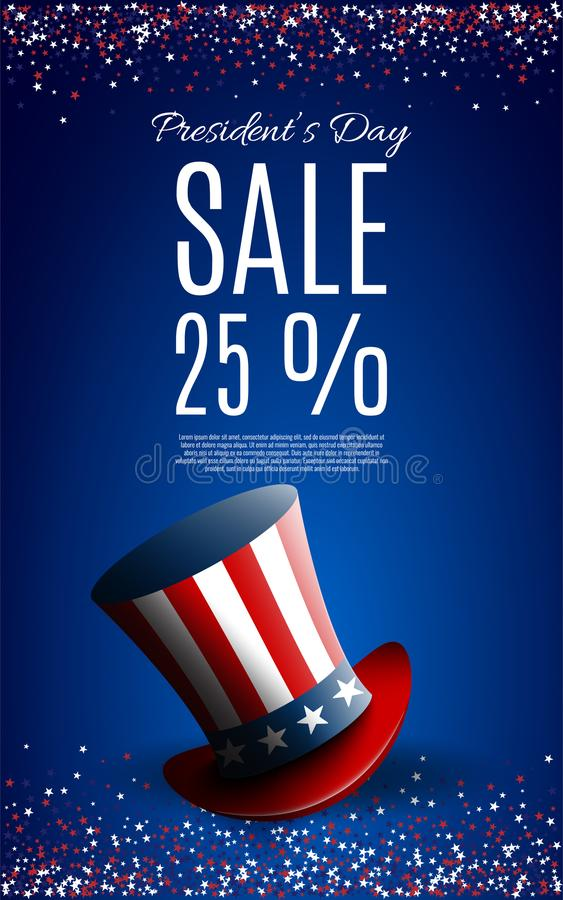 Presidents` Day Sale banner with president`s hat stock illustration