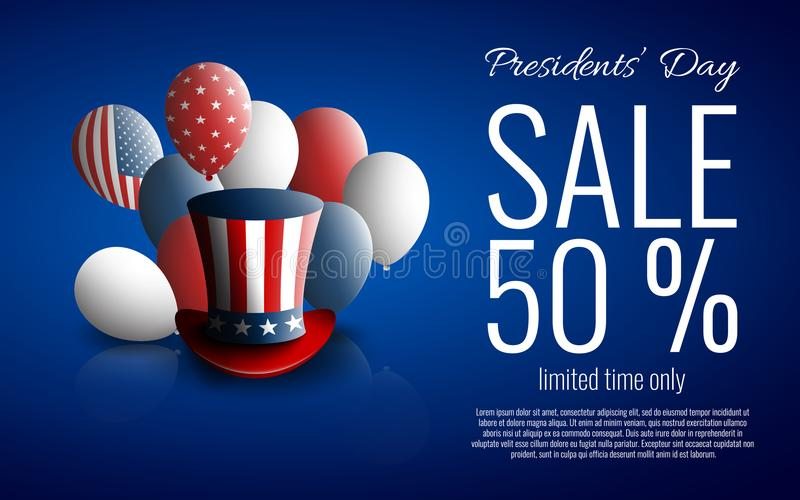 Presidents` Day Sale banner with president`s hat vector illustration