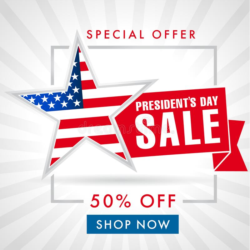 Presidents day sale card or banner. Presidents day sale, light stripes banner. Happy President`s Day Sale discount labels for web banner special offer vector vector illustration