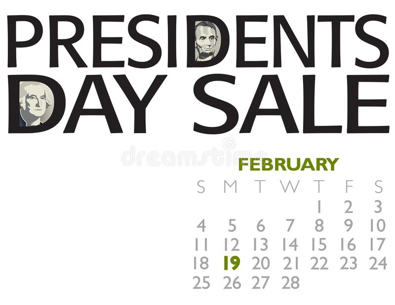 Presidents Day Sale Poster. With Lincoln and Washington for print or web use royalty free illustration