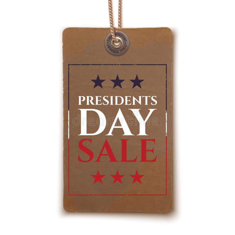 Presidents Day sale price tag. Presidents Day sale background. Vintage, realistic price tag isolated on white background. Vector illustration stock illustration