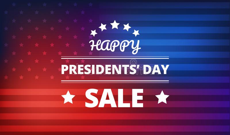 Presidents Day Sale vector background. Presidents Day Sale banner vector colorful background - red and blue colors - USA national holidays royalty free illustration