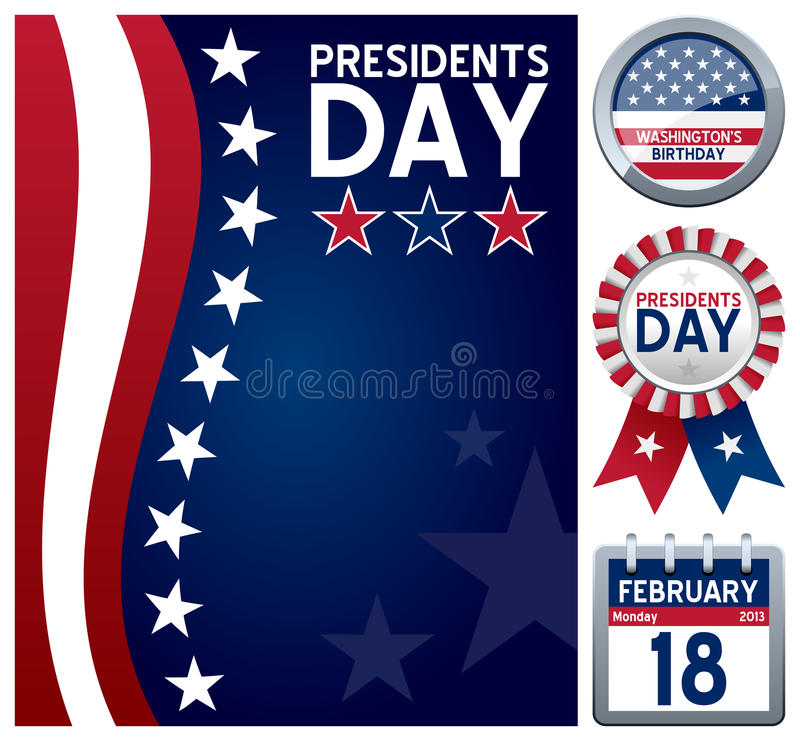 Presidents Day Set. Collection for the Presidents Day (or Washington s Birthday), a United States federal holiday celebrated on the third Monday of February in stock illustration