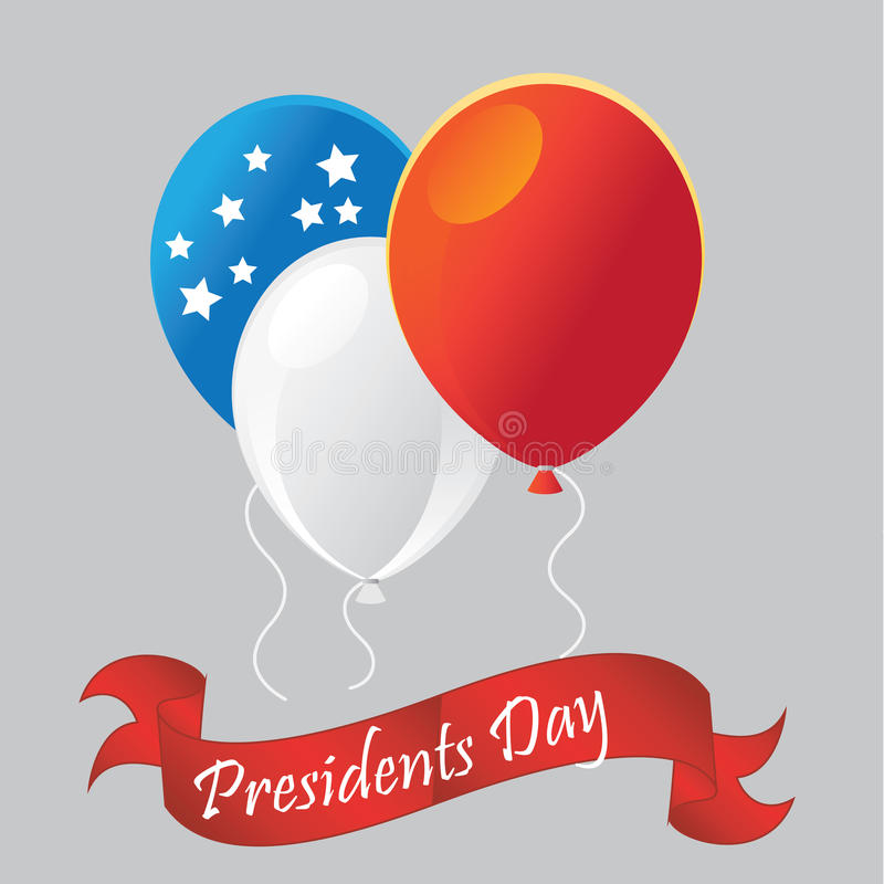 Presidents day. Three colored balloons for presidents day with a ribbon vector illustration