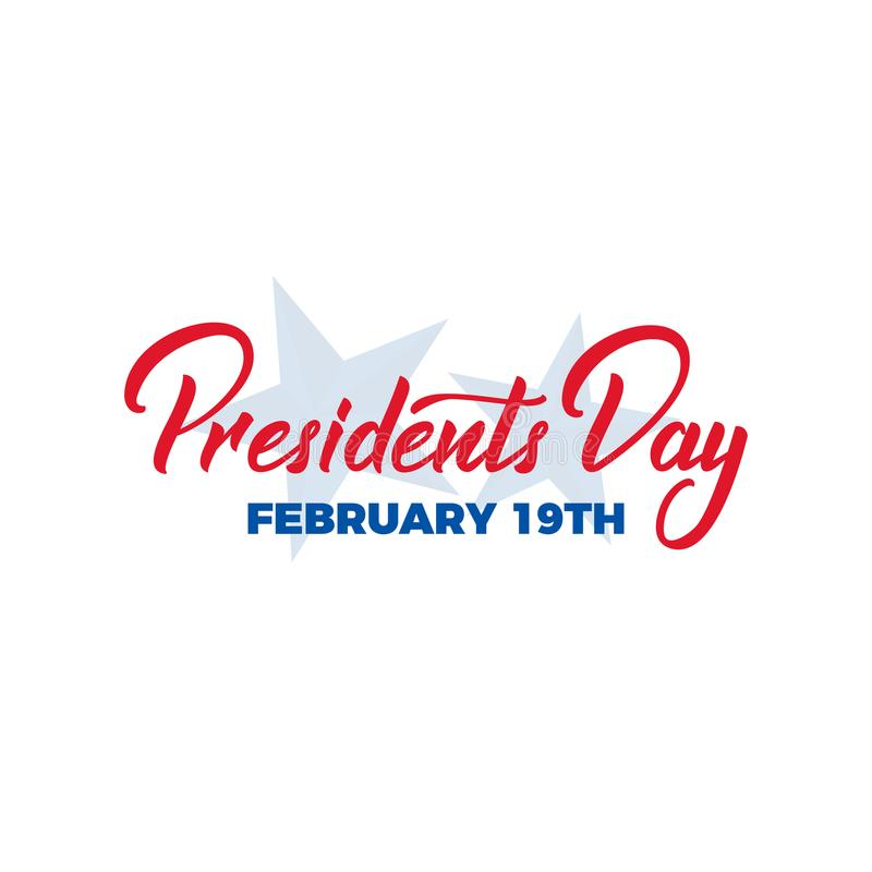 Presidents Day. Typographic lettering logo for USA Presidents Day celebration.  royalty free illustration