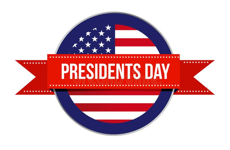 Presidents day US flag seal and ribbon icon illustration design royalty free illustration