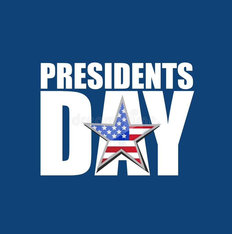 Presidents day US flag star text icon illustration design stock illustration