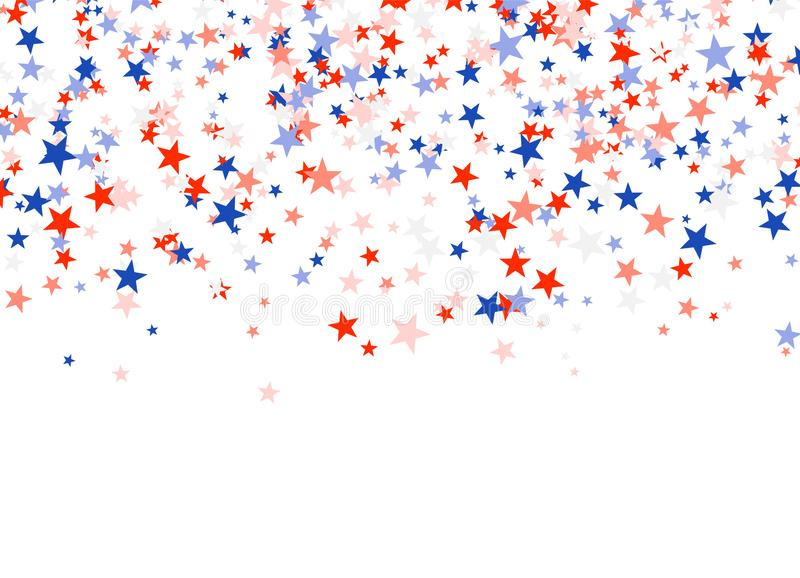 Presidents` Day in USA. Red, blue and white stars. Falling from the sky. American patriotic banner. Vector illustration vector illustration