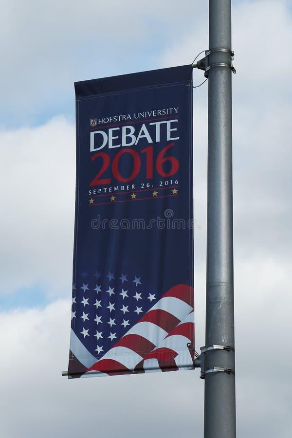 Presidents- debattbaner 2016 på det Hofstra universitetet i Hempstead, New York royaltyfri foto