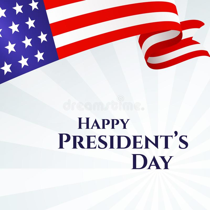 Presidents för banertext lyckliga band för stjärnor för band för amerikanska flaggan för dag på temaUSA för ljus bakgrund en patr stock illustrationer