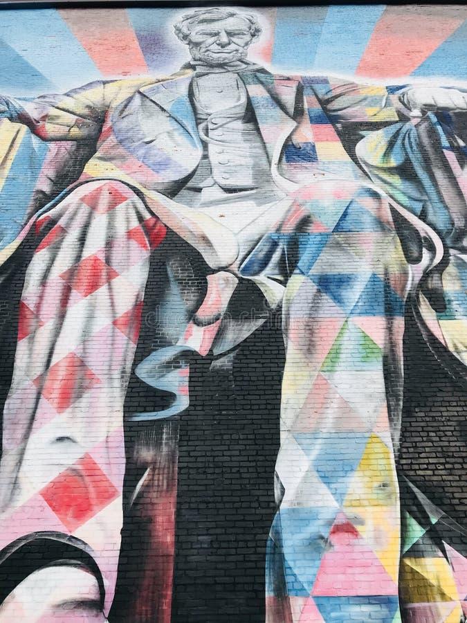 PRESIDENTS- HÄRLIGHET - en färgrik väggmålning av presidenten Abraham Lincoln - LEXINGTON - KENTUCKY royaltyfri fotografi