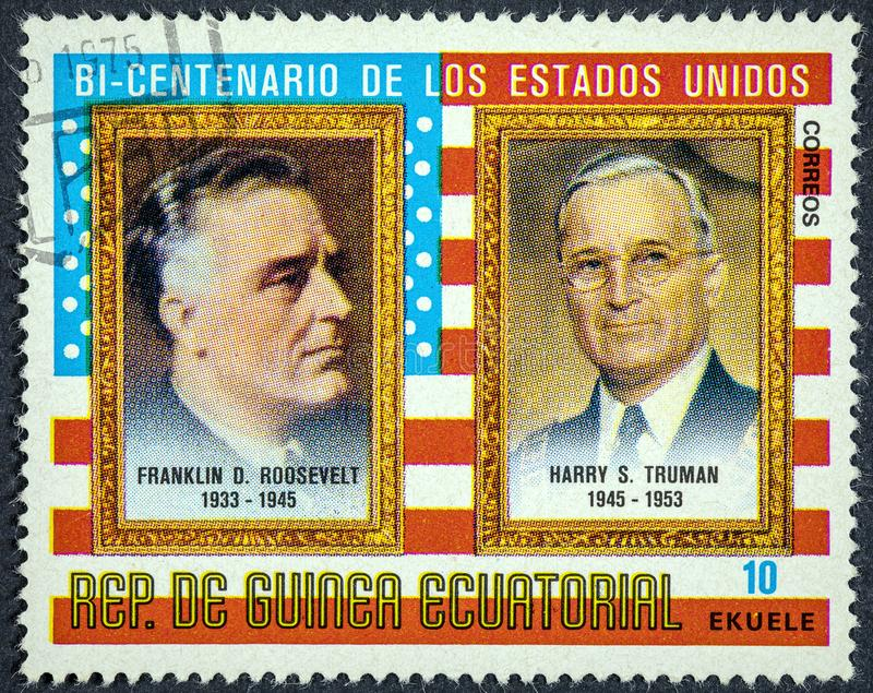Presidents of the USA Franklin D. Roosevelt and Harry S. Truman to commemorate the bicentennial of the United States. EQUATORIAL GUINEA - CIRCA 1975: A 0.10 royalty free stock images
