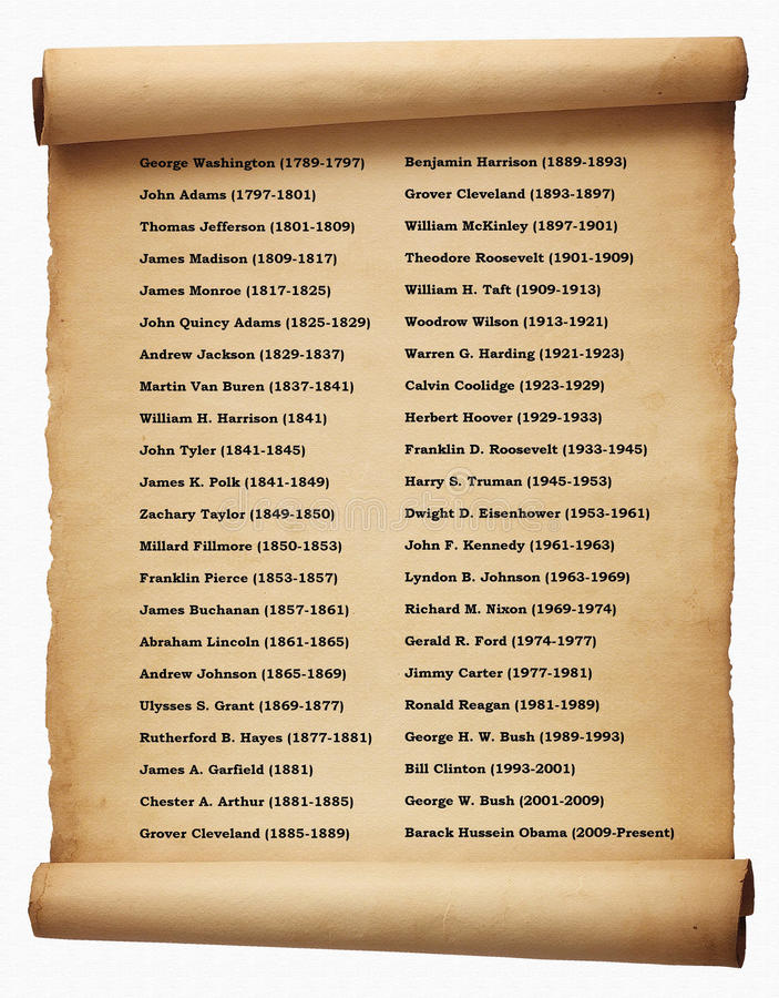List of presidents USA stock illustration