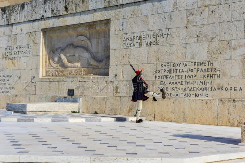 Presidents- vakt framme av den grekiska parlamentet i Aten, Grekland ändrande guard för ceremoni arkivbild