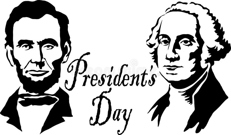 Presidents Washington/Lincoln. Illustration of Abraham Lincoln and George Washington with the headline President's Day vector illustration