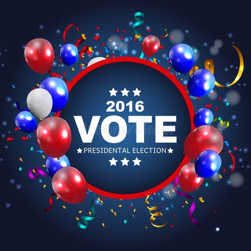 Presidentsverkiezingstem 2016 op de Achtergrond van de V.S. Kan gebruikte a zijn stock illustratie