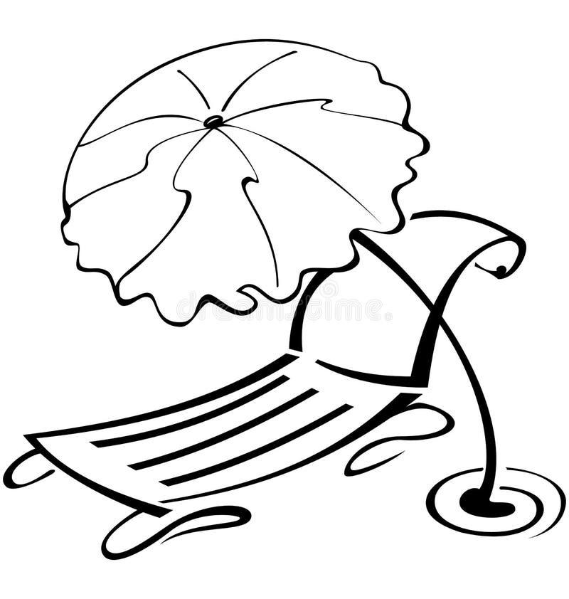 Presidenza in bianco e nero dell'ombrello e di spiaggia di profilo royalty illustrazione gratis